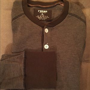 Rogan Luxury Henley Shirt Large Long Sleeve Brown